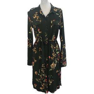 Jones New York green floral button down dress M B6